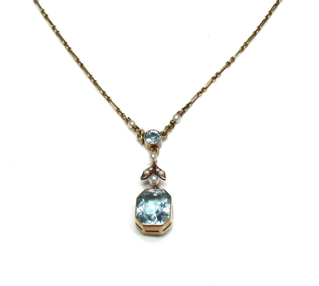 Aquamarine & Natural Seed Pearl Pendant Necklace from ...