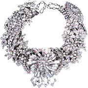 Red Carpet Stunner! Artisan One of a Kind Large Crystal Clear Rhinestone Statement Necklace