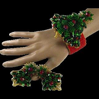 Stanley Hagler Christmas Tree Bracelet Earrings Demi Set