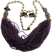 "Miriam Haskell Genuine Amethyst 48 Strand Clear Rhinestones Baroque Pearl 27"" Necklace and Earrings"