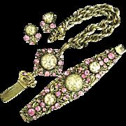 Selro 1950's Gold Confetti Lucite Pink Rhinestone Parure Set