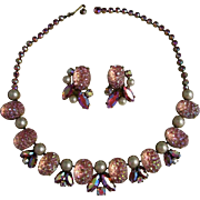 Schiaparelli Pink Moon Rock Faux Pearl Rhinestone Necklace and Earring Demi Set