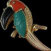 Kenneth Jay Lane Signed KJL Lucite Toucan Bird - Book Piece