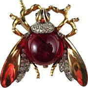 Trifari Sterling Gold Vermeil Alfred Phillipe Red Jelly Belly Largest Fly