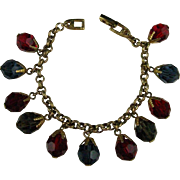 Napier Faceted Crystal Glass Beaded Gold plated Charm Bracelet