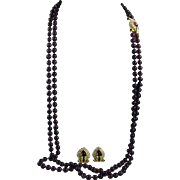 "Nolan Miller Purple Glass Bead 33"" Double Strand Fancy Clasp and Matching Earring Set"