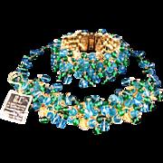 Hobe Teal Blue Emerald Green Art Glass Dangle Necklace and Bracelet 22K Gold Plating