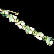 Schiaparelli Molded Glass Peridot & Emerald Green Rhinestone White Moonstone & White Opalescent Stone Bracelet