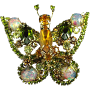Juliana Delizza & Elster Easter Egg Opal Olive Green Amber Rhinestone Butterfly Pin