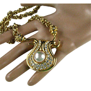 """Nolan Miller Faux Pearl Large Pendant on 30"""" Thick Gold Plated Chain"""