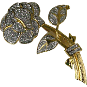 Nolan Miller Clear Crystal Pave Rose Pin Gold Plated Vintage
