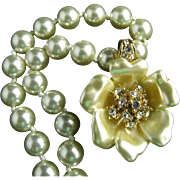 Nolan Miller Carved Faux Pearl Flower Enhancer Glass Faux Pearl Necklace