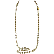 """Nolan Miller 36"""" Creamy Faux Glass Pearl Necklace Ornate Clasp"""