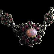 Rare Vintage Very Early Coro Faux Opal Rhinestone Choker Necklace