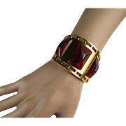 French Bakelite Signed Albert Flamand Fladium Depose Cuff Bracelet France Paris