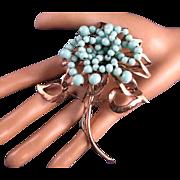 Nettie Rosenstein Large Sterling Silver Rose Gold Plated Aqua Blue Glass Beaded Trembler Fur Clip Brooch