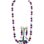 """Alice Caviness Patriotic Red White Blue 31"""" Beaded Necklace & 2.75' Drop Earring Set"""