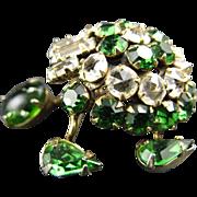 Schreiner Emerald Green and Clear Rhinestone Trembler Turtle Brooch Pin