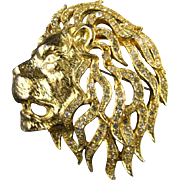 Signed Sphinx of England Lion Head Gold Tone Clear Pave Set Rhinestone Brooch