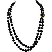 Vogue Jet Black Glass Faceted Beaded 21 Inch Two Strand Necklace Ornate Clasp