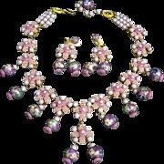 Signed Stanley Hagler Violet Cloisonne Glass Art Glass Necklace and Earring Demi Set