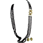 """Nolan Miller Glamour Collection Three Strand 31"""" Garnet Red Glass Ornate Clasp Necklace and Earrings Set"""