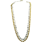 """Miriam Haskell Signed 30"""" Crystal and Gilded Russian Gold Plate Chain Ornate Clasp Necklace"""
