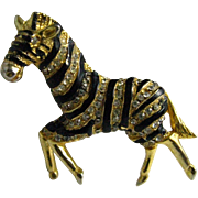Hattie Carnegie Signed Clear Rhinestone Black Striped Zebra Brooch Pin