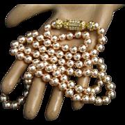 "Nolan Miller 36"" Blush Pink Faux Pearls Ornate Rhinestone 22K Gold Plated Clasp"