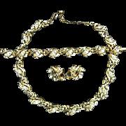 Trifari Patent Pending 1950's Clear Rhinestone Gold Tone Metal Necklace Bracelet Earrings Parure