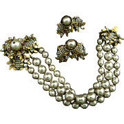 Miriam Haskell Elaborate Clasp Baroque Pearl Rose Montees Three Strand Bracelet and Earrings Set Demi