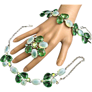 Schiaparelli Signed Green Cabochon Rhinestone Moonstone Necklace Bracelet and Brooch Parure