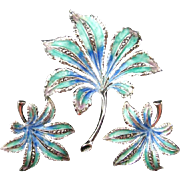 Alice Caviness Sterling Silver Aqua Blue Green Enameled Leaf Brooch and Earrings Demi Set