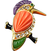 Vintage Kenneth Jay Lane Toucan Bird Brooch