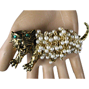 "Vintage Hattie Carnegie Large 3.5"" Fierce Tiger Fur of Faux Pearls Brooch/Pin"