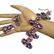 SCHIAPARELLI DEMI Watermelon/Tourmaline Rhinestones Huge Bracelet & Earrings Set