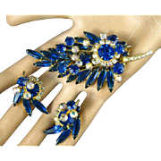 Vintage D&E Juliana Sapphire Blue Aurora Borealis Navette Rhinestone Brooch and Earrings Set