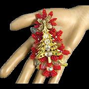 Vintage Stanley Hagler Christmas Tree Red Seed Beads Molded Leaves Rhinestones Brooch