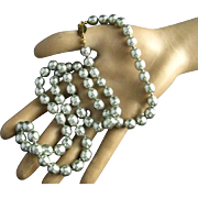 """Miriam Haskell 26"""" Silvery Pale Gray Baroque Faux Pearl Necklace"""