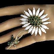 Schreiner Unsigned White Milk Glass Navette and Emerald Green Rhinestone Flower Brooch