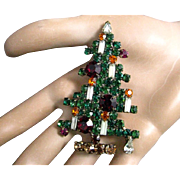 "Vintage Weiss 2 5/8"" Six Candle Christmas Tree Rhinestones Pin/Brooch"