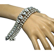 Vintage Weiss Wide Sparkling Clear Glass Rhinestone Bracelet