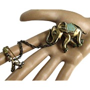 Extremely RARE Early 20th Century Hirsch Sterling Man Leading Elephant with Chain Sterling Silver Enamel Rhinestone Brooch Pin