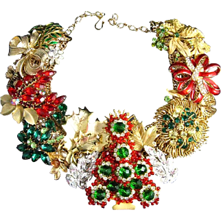 Tis The Season Christmas Holiday One of a Kind Statement Necklace