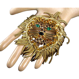 Vintage Huge Lion Head Rhinestones and Gilt Golden Fringe Brooch/Pendant
