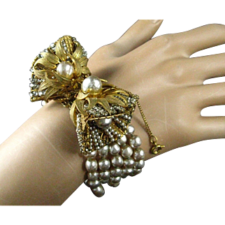Spectacular Miriam Haskell Five Row Baroque Pearl Large Ornate Russian Gilt Clasp Bracelet