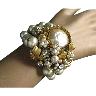 Fabulous Miriam Haskell Three Row Baroque Pearl Very Ornate Large Center Cuff Bracelet