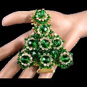 "Stanley Hagler Emerald Green Glass Beads Clear Rhinestones 3 3/8"" Christmas Tree Pin/Brooch"