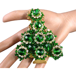 "Stanley Hagler Emerald Green Glass Beads Clear Rhinestones 3 3/8"" Christmas Tree Pin/Brooch"