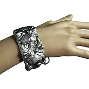 Signed Whiting and Davis Chunky Silver Tone Repousse Cuff Bracelet